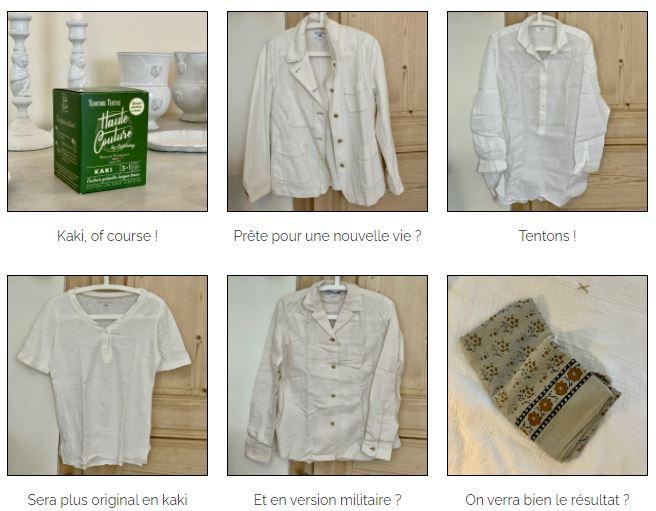 vêtements à teindre avant teinture textile haute couture kaki